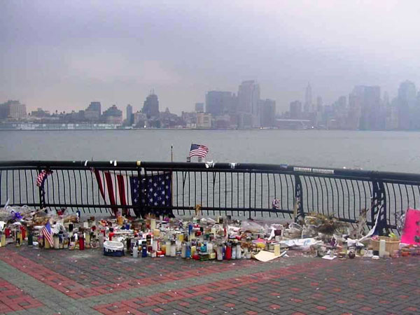 Sinatra Park in Hoboken with the makeshift memorial immediately following 9/11.