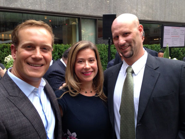 TJ with his grade school friends Jim and Danielle at the Leveraged Financial Fights Melanoma fundraiser at Rockefeller Center.