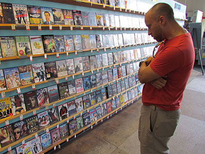 Steve Spurgeon browses for a movie at TLA Video in Bryn Mawr.