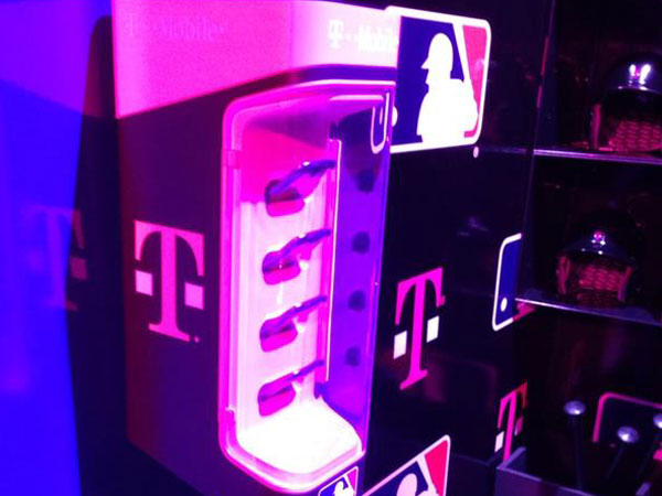 T-Mobile´s dugout phone dock. Photo courtesy of Eric Fisher, SportsBusiness Journal.