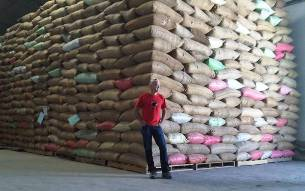 Todd Carmichael with the haul in La Colombe´s Philly warehouse.
