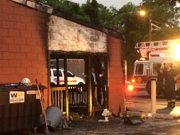 The rear of Tom Fisher´s Tavern in Haddon Township´s Westmont section caught fire overnight, May 21, 2014. (Philly.com)
