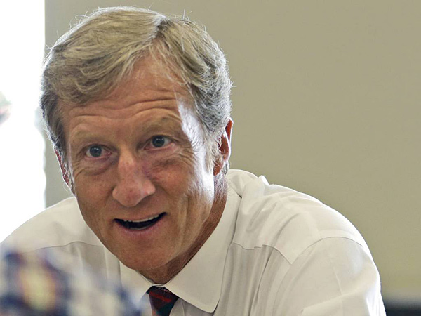 Tom Steyer, an environmentalist billionaire, is unveiling plans to spend $100 million this year in seven competitive Senate and gubernatorial races, as his super PAC works to counteract a flood of conservative spending.