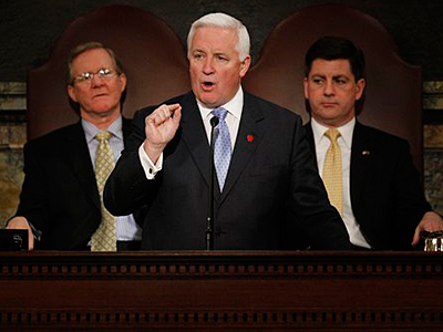 Gov. Tom Corbett delivers his budget address for the fiscal year 2011-2012. (AP Photo/Matt Rourke)