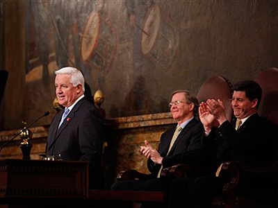 Gov. Tom Corbett, left, delivers his budget address for the fiscal year 2011-2012. Seated center is Speaker of the Pennsylvania House of Representatives, Rep. Sam Smith, R-Jefferson, and Pennsylvania Lt. Gov. Jim Cawley. (AP Photo/Matt Rourke)