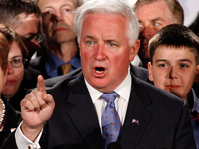 Pennsylvania Gov.-elect Tom Corbett announces his election win in Pittsburgh on Nov. 2, 2010. (AP Photo/Gene J. Puskar)