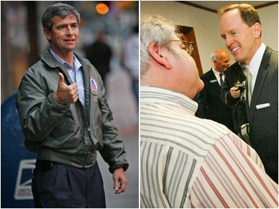 Republican candidate for U.S. Senate Pat Toomey, right, speaks with supporter Robert B. Sklaroff, M.D. in Northeast Philadelphia in May. And Rep. Joe Sestak, left, in Center City Philadelphia in May. (Alejandro A. Alvarez / Staff Photographer)