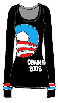 This photo is from today´s story in the Washington Post. Courtesy of designer Tracy Reese, a sketch of a Obama for President long sleeved T.