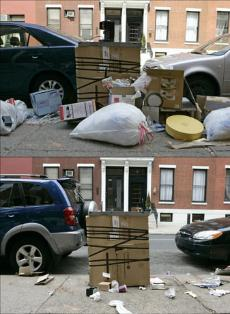 Two photos taken a day apart at 16th and Spruce Streets, showing trash left on the street (top) and what was left over after trash bags and boxes were collected the next day.