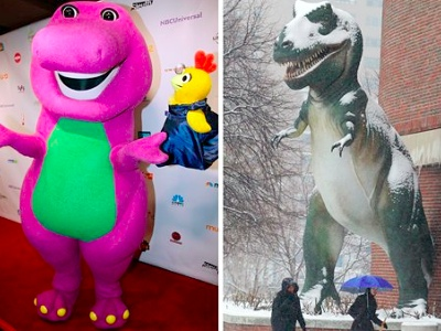 Barney the Dinosaur, left, in Chicago and a Tyrannosaurus Rex model outside the Museum of Science in Boston. (AP Photo/Nam Y. Huh, Bizuayehu Tesfaye)