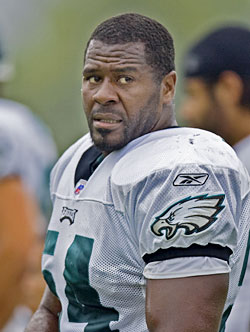 Jeremiah Trotter at training camp earlier this month. 