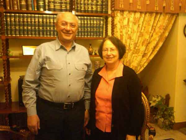 Judge Hisham Bastawisi with Trudy Rubin in Cairo.