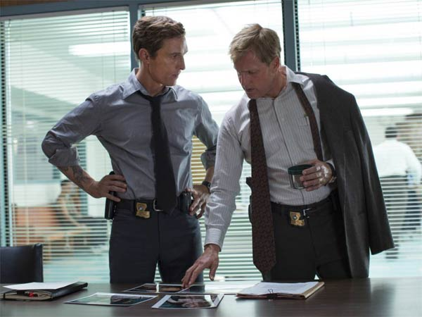 "This image released by HBO shows Matthew McConaughey, left, and Woody Harrelson from the HBO series ""True Detective."" Both Harrelson and McConaughey were nominated for Emmy Awards for best actor in a drama series for their roles in the series. The 66th Primetime Emmy Awards will be presented Aug. 25 at the Nokia Theatre in Los Angeles.  (AP Photo/HBO, Michele K. Short)"