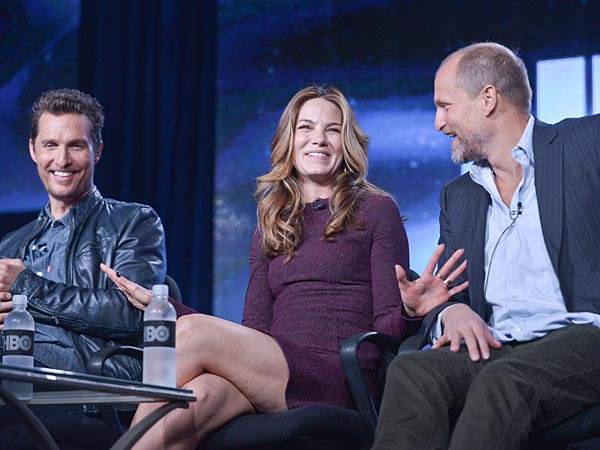 From left, Matthew McConaughey, Michelle Monaghan, and Woody Harrelson on stage during the True Detective panel discussion at the HBO portion of the 2014 Winter Television Critics Association tour at the Langham Hotel on Thursday, Jan. 9, 2014 in Pasadena, Calif. (Photo by Richard Shotwell Invision/AP)