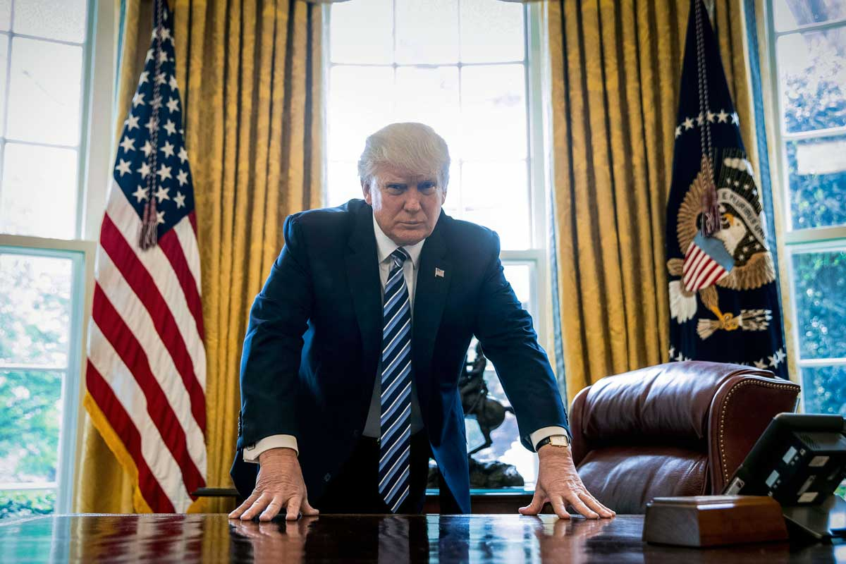 President Trump gives an interview to the Associated Press on his first 100 days in office.<br />