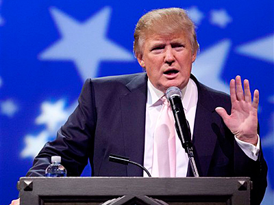 Donald Trump speaks to a crowd of 600 people during a gathering of Republican women´s groups, Thursday, April 28, 2011, in Las Vegas. (AP Photo/Julie Jacobson)