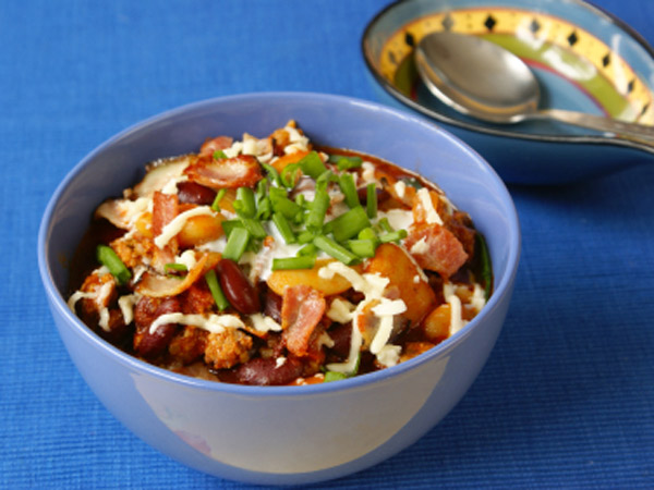 This turkey chili includes black beans, which are a great source of fiber.