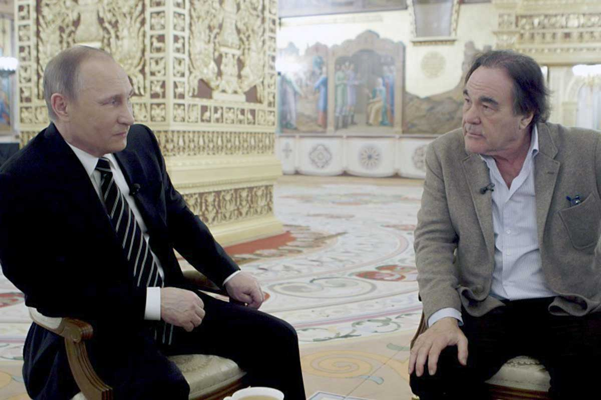 "Russian President Vladimir Putin and film director Oliver Stone in the four-part documentary ""The Putin Interviews."""