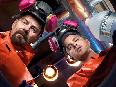 Bryan Cranston (left) and Aaron Paul play a chemistry-teacher-turned-meth-maker and his partner, a former slacker student.
