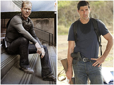 "Kiefer Sutherland, left, stars as Jack Bauer on ""24."" Matthew Fox portrays Jack Shephard on ""Lost."""