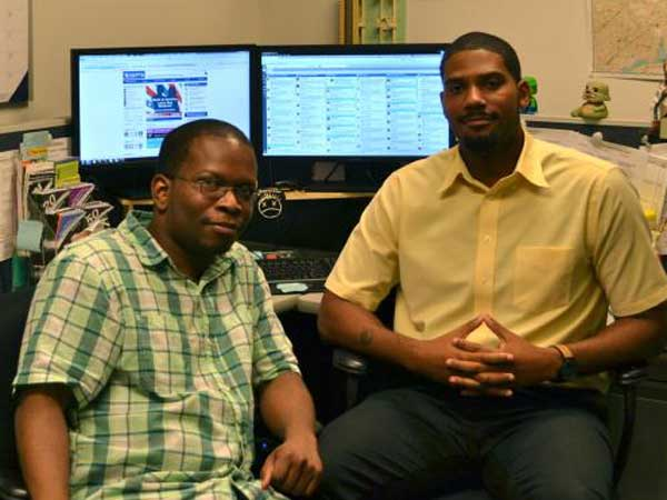 The men behind Septa&acute;s @SEPTA_social Twitter account: Ken Williams, left, and James Siler. <br />