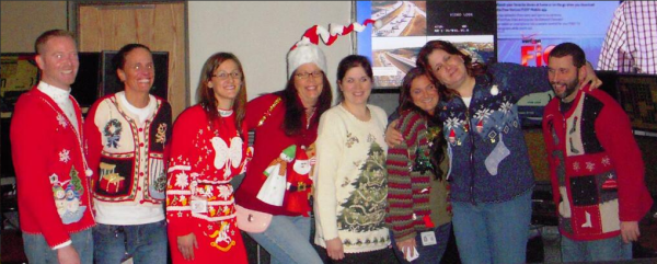 Staff at the Montgomery County Emergency Communications Center get in the holiday spirit with an Ugly Sweater day.