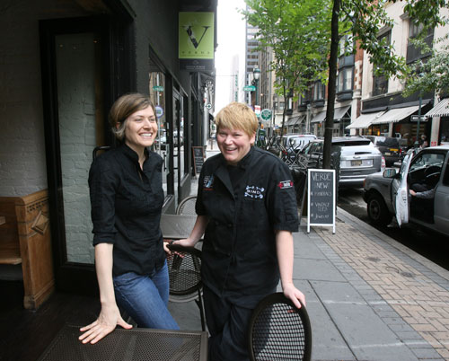 Valerie Safran (left) and Marcie Turney in the window of Barbuzzo. (Photo: CHARLES FOX / Staff Photographer)