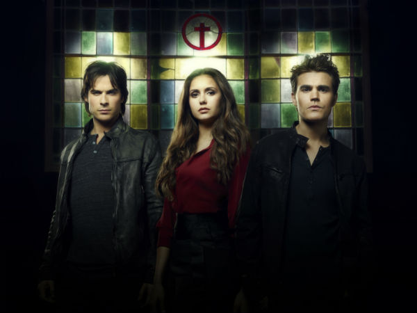 "Ian Somerhadler, Nina Dobrev and Paul Wesley of ""The Vampire Diaries"""