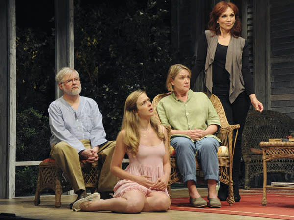 Written by Christopher Durang, Directed by Sheryl Kaller. This Tony Award®-winning hit stars Christopher Durang as Vanya (left), Clea Alsip, Deidre Madigan, and Marilu Henner as the narcissistic B-movie star Masha, who pops home to Bucks County to visit her anguished siblings with a few surprises in store. CREDIT: Mandee Kuenzle, Bucks County Playhouse