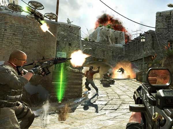 This undated publicity image released by Activision shows soldiers and terrorists battling in the streets of Yemen in a scene from the video game, Call of Duty: Black Ops II. (AP Photo/Activision)