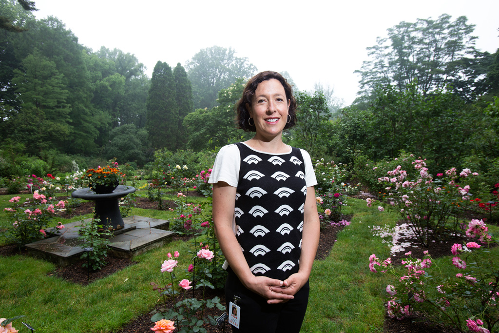 """Even heavy-duty gardeners came to the Barnes to see the art, so they´ve been her, but they haven;t been in the arboretum,"" says  horticulture education coordinator Nicole Juday, standing in the rose garden. ED HILLE / Staff Photographer"