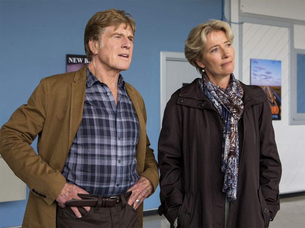 "Emma Thompson stars as Cythina Bryson with Robert Redford as Bill Bryson and   in ""A Walk in the Woods."""