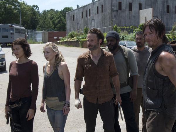 """The Walking Dead"" - Maggie Greene (Lauren Cohan), Beth Greene (Emily Kinney), Rick Grimes (Andrew Lincoln), Tyreese (Chad Coleman), Daryl Dixon (Norman Reedus) and Carl Grimes (Chandler Riggs) (Photo Credit: Gene Page/AMC)"