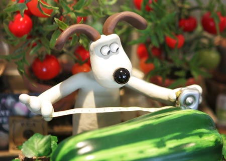Gromit (in Wallace & Gromit: Curse of the Were-Rabbit) sizes up squash and dreams of basil.