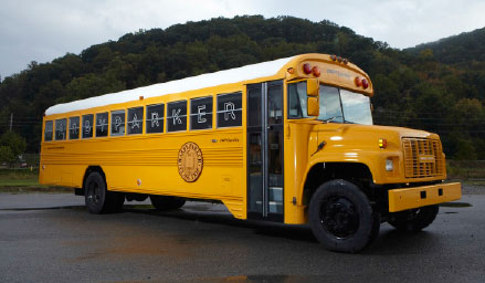 The Warby Parker Class Trip School bus courtesy of Warby Parker