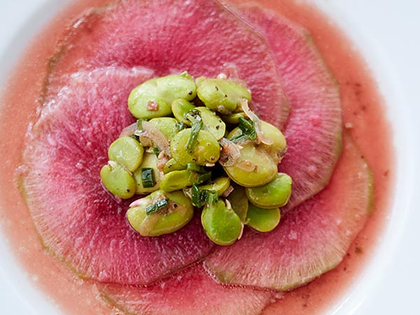 Watermelon radish with fava beans from Vedge.