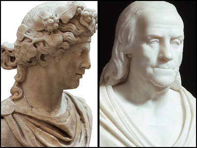 "A Roman bust of Bacchus (left), circa 200 A.D., in the new exhibit ""Ancient Rome & America,"" opening today at the National Constitution Center, running through Aug. 1. Ben Franklin (right) is dressed Roman-style in a toga in an 1817 bust."