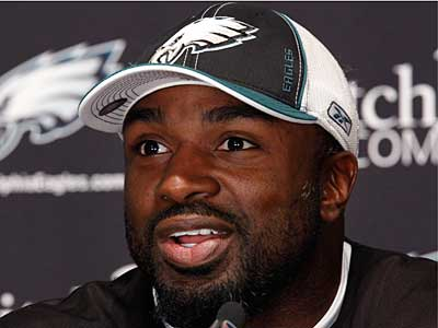 Running back Brian Westbrook addresses the media during a news conference today at the team´s training facility. (AP Photo/Matt Rourke)