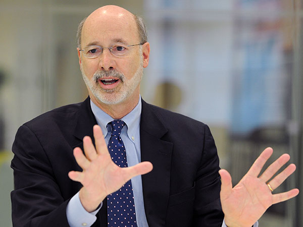 Tom Wolf, Democrat running for Pennsylvania Governor in the upcoming May primary, speaks with Inquirer reporters and editors about his business, the Wolf Organization, on March 28, 2014.  ( CLEM MURRAY / Staff Photographer )