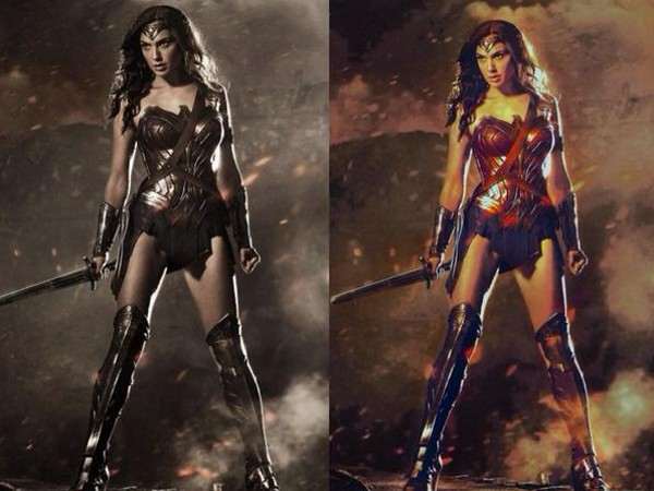 "The new Wonder Woman, at left as revealed by ""Batman vs. Superman"" director Zack Snyder, on right supposedly without a bronzing filter."