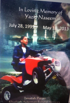 Yazid Naseem, 13, died after crashing his ATV in Southwest Philly Saturday morning.