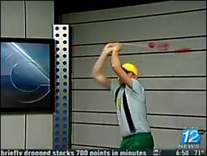 A man calling himself Kenny Strasser exhibits his dubious yo-yo mastery on one local-TV clip.