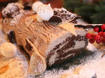 The Buche De Noel or Yule Log by pastry chef Christian Gatti of Plymouth Meeting. (Jordan M. Shayer / For the Philadelphia Daily News)