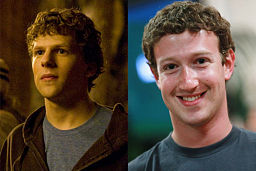 "Jesse Eisenberg, left, who plays Mark Zuckerberg, right, in ""The Social Network."""