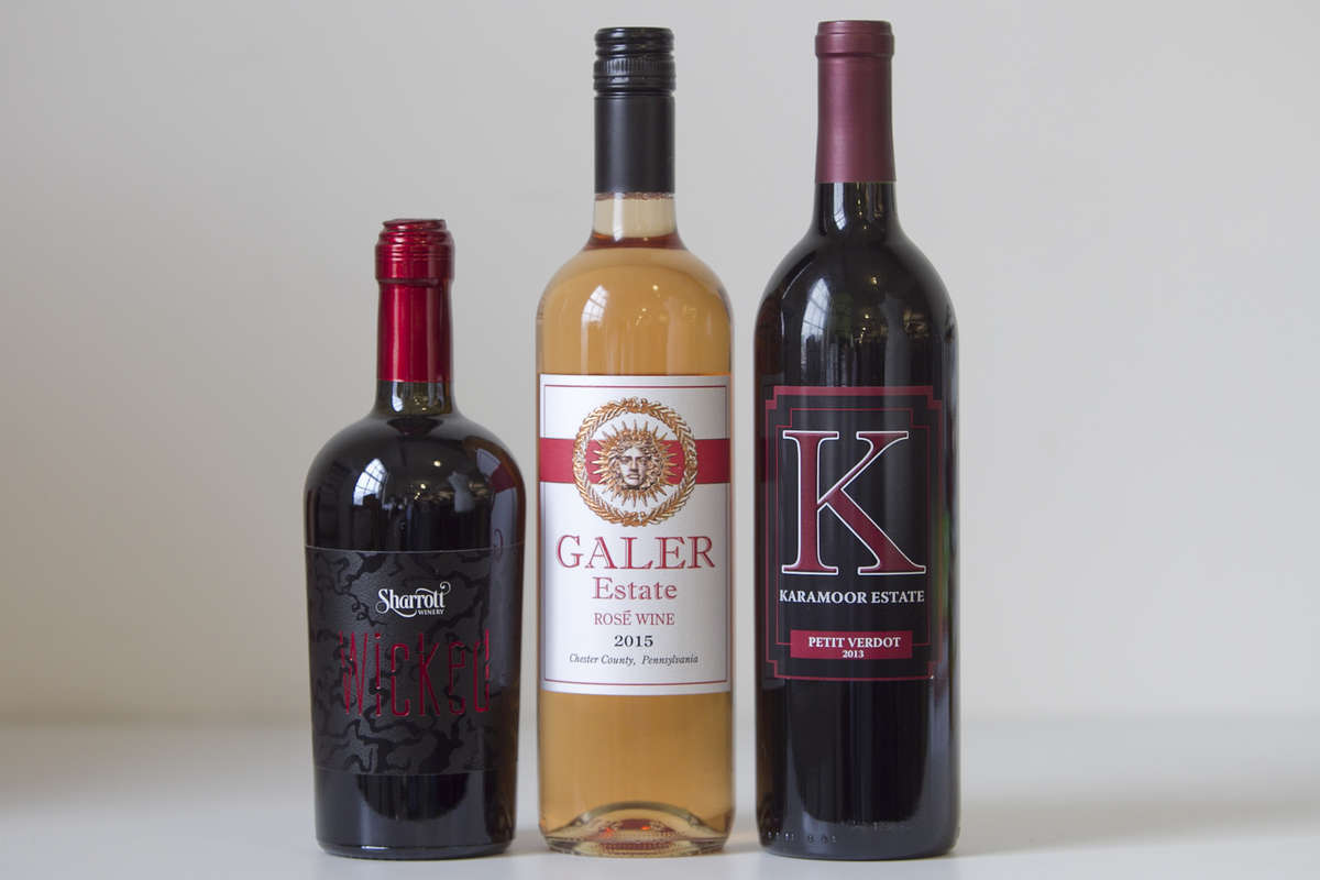 From left are Sharrott Winery, Wicked, Galler Estate Rose Wine, 2015 and Karamoor Estate, Petit Verdot, 2013. (Handout)
