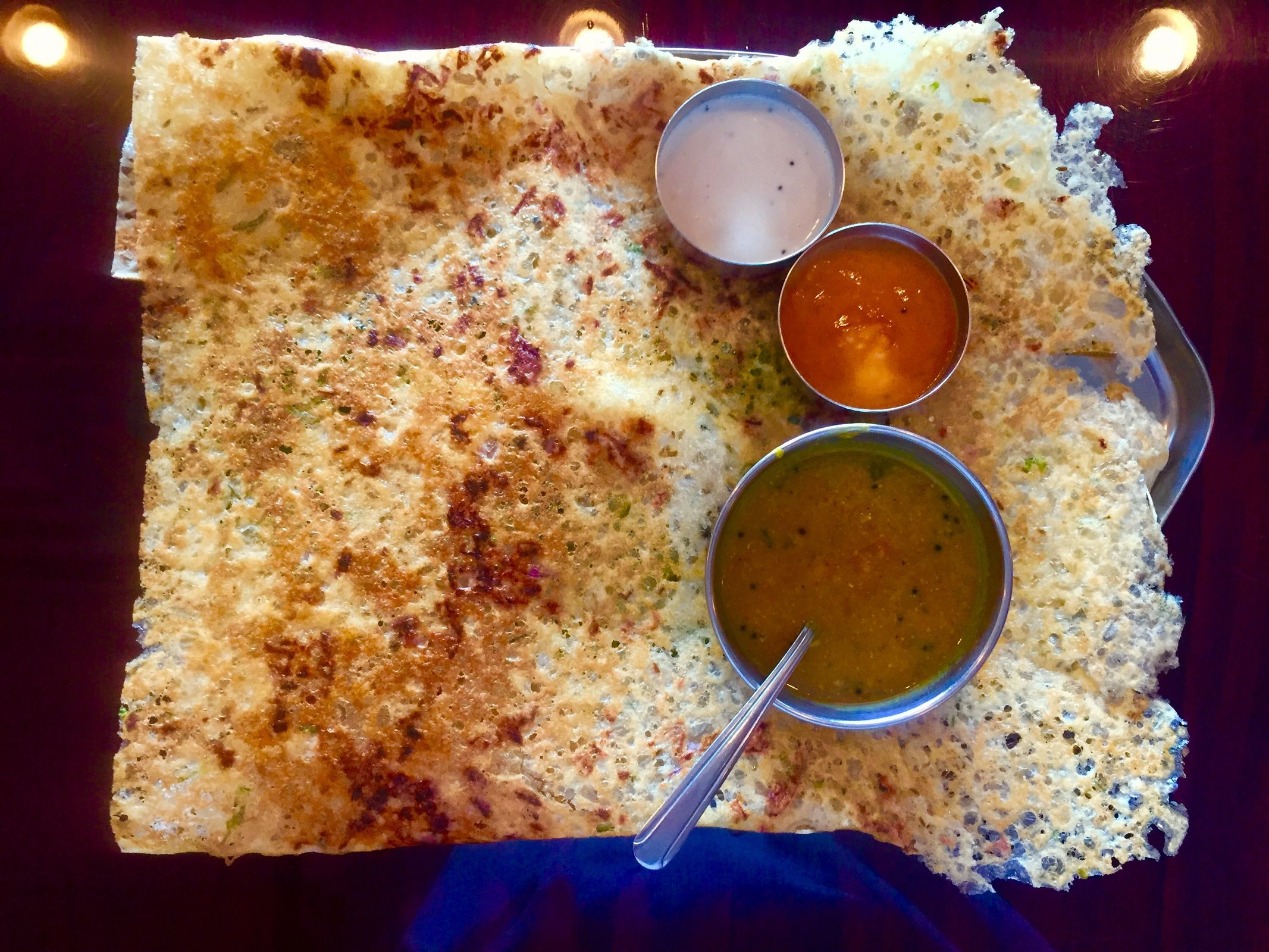 The onion rava dosa at Amma's South Indian Cuisine in Voorhees. (CRAIG LABAN / Staff)