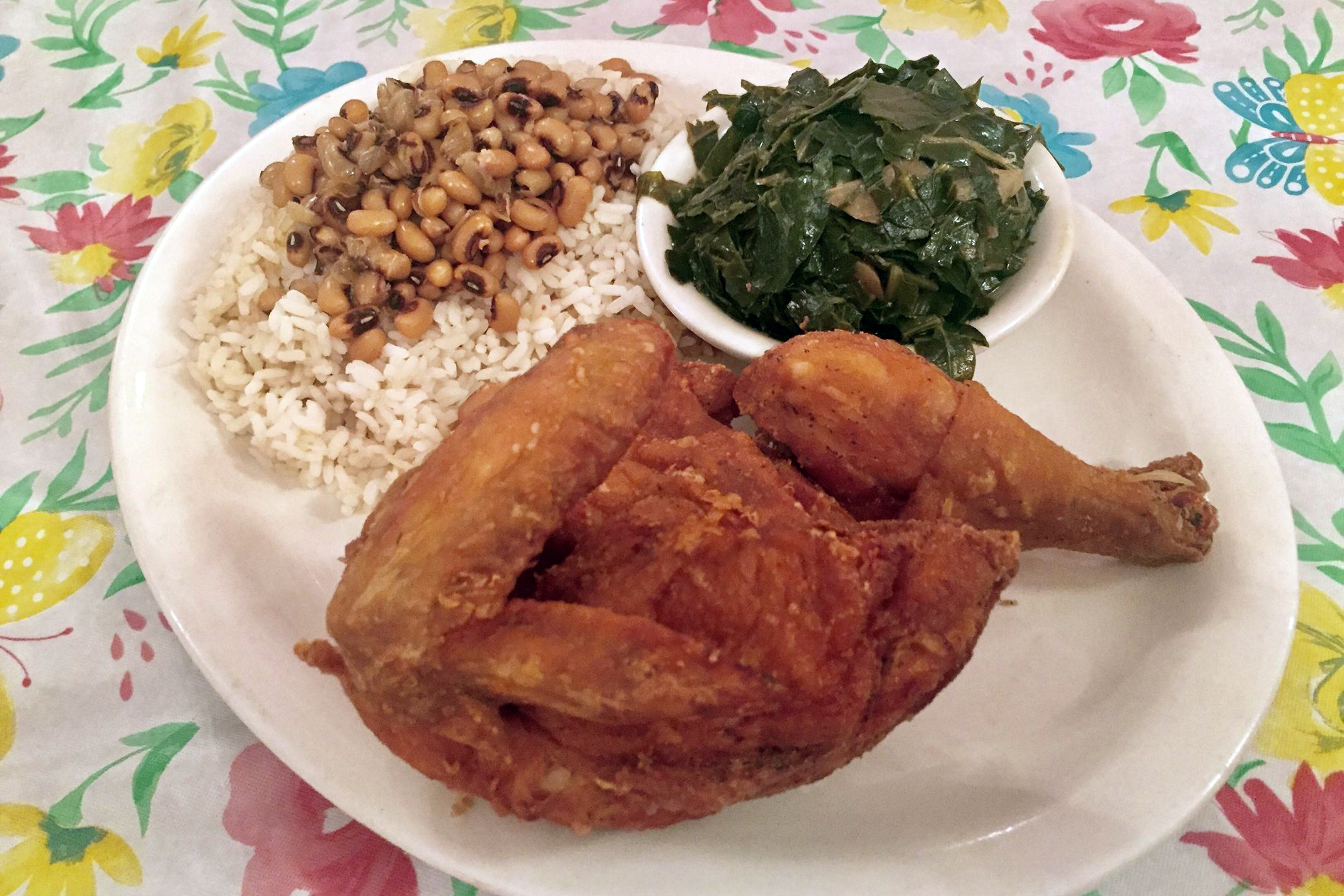 The fried chicken platter from Corinne's Place in Camden - still one of the region's best soul food kitchens. (CRAIG LABAN / Staff)