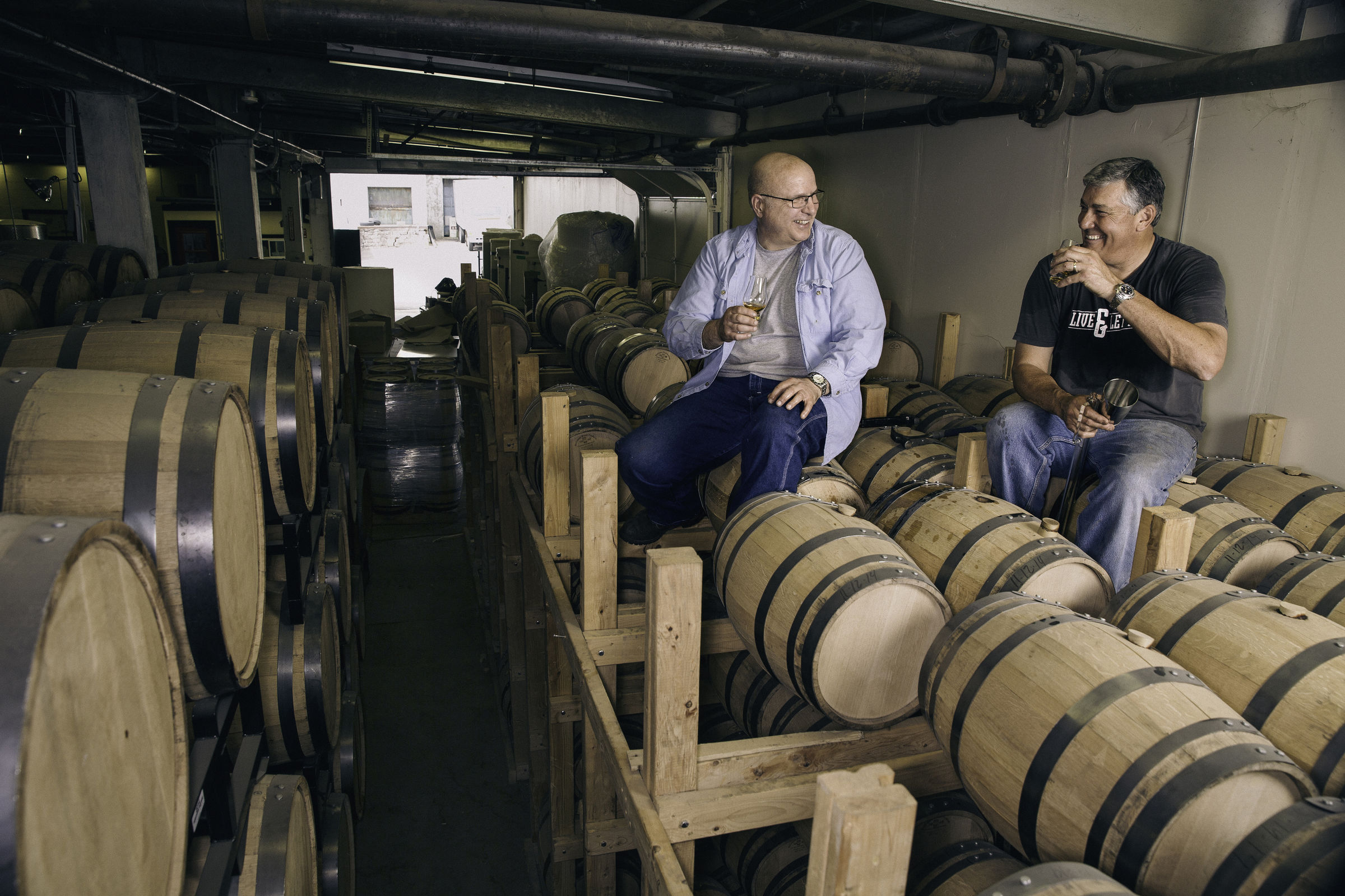 Dad's Hat Co Founders John Cooper and Herman Mihalich Sampling on the Barrel Racks. (COLIN LENTON)
