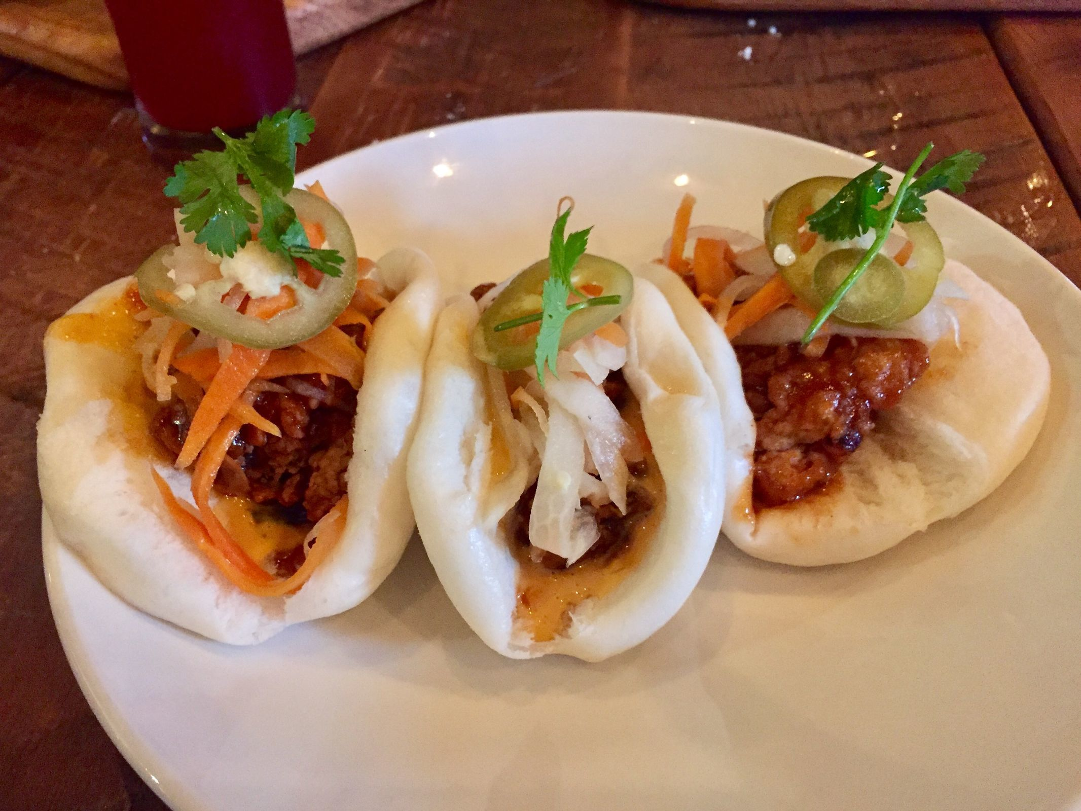 Fried chicken bao buns from Borough Brewhouse. (CRAIG LABAN / Staff)