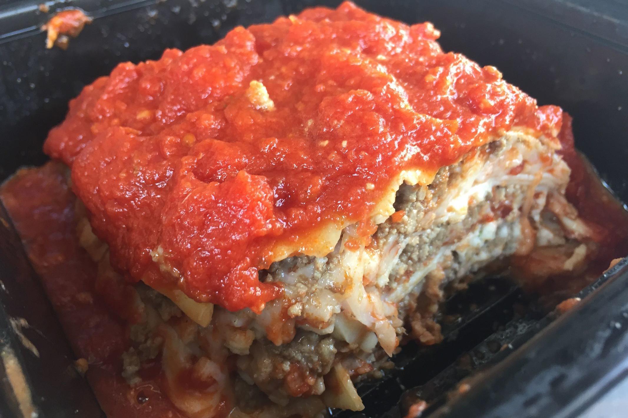 The meat lasagna to go at Carlino's Market in Ardmore. (CRAIG LABAN / Staff)